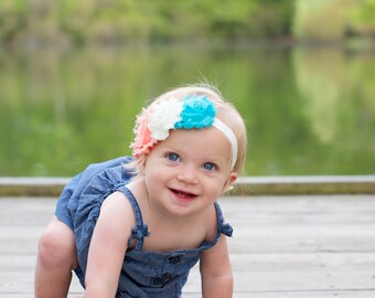 Aqua peach baby headband, turquoise peach headband, aqua baby headband, newborn headband, infant headband, toddler headband