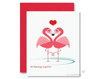Flamingo Valentine Card / Love Card / Anniversary Card / We Flamingo together