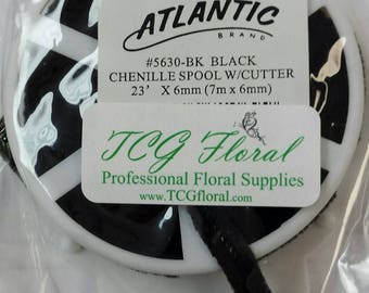 Floral Craft Wire -Black Chenille on Spool with Cutter  - 1 roll