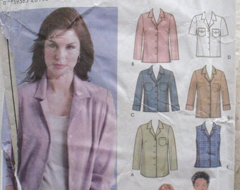 SALE - Simplicity 5455 Easy to Sew Pattern - Classic Button Front Shirt in Three Lengths  - Sizes 6-8-10-12, Bust 30 1/2 - 34