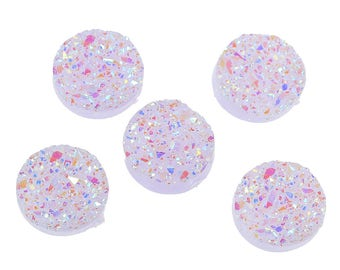 6 Druzy Quartz Mauve AB Color Cabochon 12mm