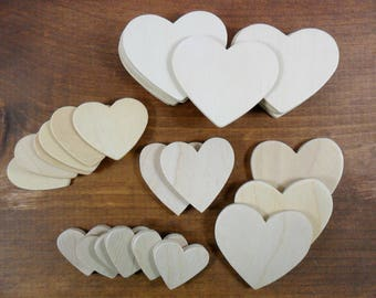 Wood Heart Assortment Unfinished Plywood Heart Cutouts 28 Pieces