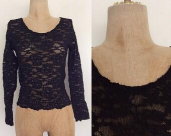 1990's Stretchy Black Lace Victoria's Secret Top