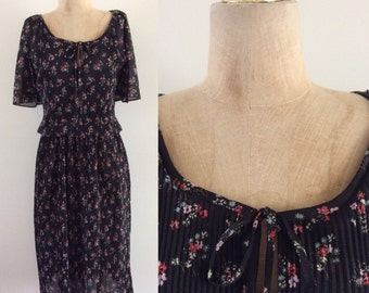 1970's Black Floral Polyester Dress Vintage Dress Size Small Medium by Maeberry Vintage