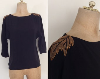 1980's Black Rayon Top w/ Leaf Embroidered Shoulders Size XS/S by Maeberry Vintage