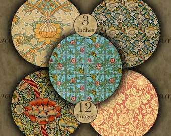 WILLIAM MORRIS 3 inch circles - 12 Digital Printable Images for Coasters and Crafts...Art Nouveau - Arts & Crafts Movement