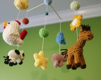 Crochet Happy Farm Friends Crib Mobile (Ready To Ship)
