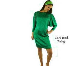 Emerald Green Satiny Mini Dress with Dolman Sleeves, Vintage 1980s, Size Small