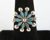 Native American Sterling Silver & Turquoise Ring - Vintage Zuni - Size 6 1/4
