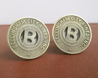 Bellingham, WA Transit Token Cuff Links - Gold, Repurposed Vintage Coins
