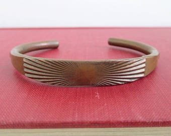 """Solid Copper Cuff Bracelet - Vintage Heavy, Small 6"""""""