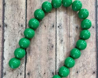 Forest Green Gumball Acrylic Bubblegum Beads Strand