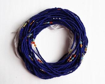 Dark blue African waist beads
