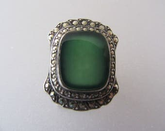 1940s Marcasite and Green Onyx Vintage Sterling Ring