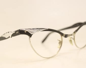 unused black aluminum cat eye eyeglasses 110 12k vintage cat eye glasses frames cateye frames nos