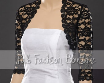 Black 3/4 sleeved lace bolero jacket shrug Size S-XL, 2XL-5XL