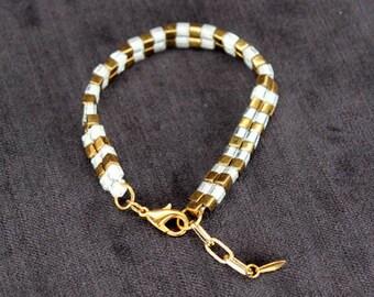 Beaded Friendship Bracelet in Bronze & White - In Stock!
