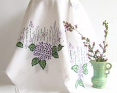 Linen Tablecloth, Embroidered Tablecloth, Floral Embroidery, Purple and Green, Table Cloth, Large Tablecloth, Hand Embroidered,