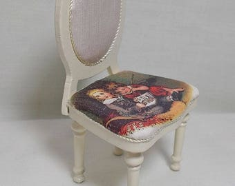 Dollhouse Miniature Shabby-Chic Nursery Chair.