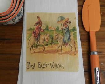 Easter Tea Towel Vintage  Victorian Dressed Rabbits Riding Sheep Flour Sack Hostess Gift