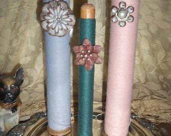 Set of 3 Vintage Wooden Bobbins, Yarn, Farmhouse Decor, Cottage Decor,