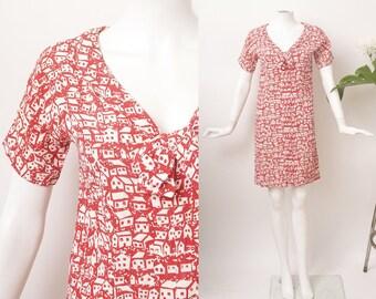 SALE House Print Cotton Dress