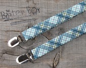 Off-Shore Blue diagonal plaid suspenders for little boys - photo prop, wedding, ring bearer, accessory, Riley Blake