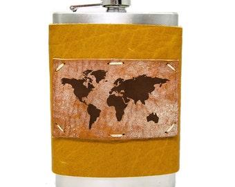 World Map Flask 8oz Homemade in Aspen in Honey Ginger