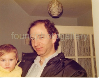 Vintage Photo, Close-Up of Man & Blond Haired Child, Candid Color Photo, Found Photo, Snapshot, Vernacular Photo, Old Photo