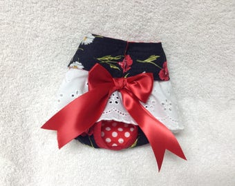 Female Doggie Diaper Dog Pet Wrap Bitches Britches Panties Skirt Size XXSmall To Medium  Roses And Daisy