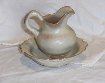 Vintage Frankoma Small Pitcher and Bowl