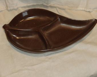 Vintage Frankoma Plainsman Brown Divided Leaf Dish
