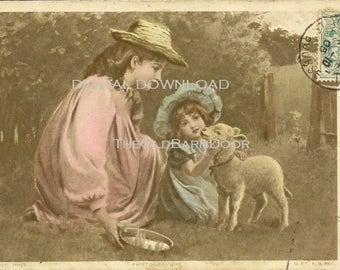 Digital Download P Tarrant PINX Depose Series Antique French Easter Postcard Young Children With Spring Lamb 1905 – Tender Image
