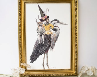 Hansel and Gretel as Otters with sweets riding upon a heron bird fairytale illustration artwork nursery print
