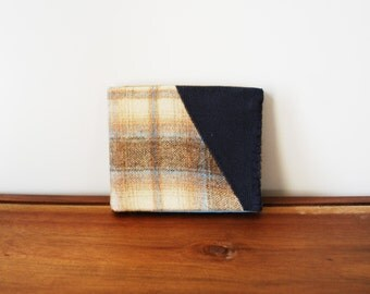 Upcycled Tan and Blue Plaid Wool and Navy Blue Linen Bifold Wallet with Powder Blue Interior