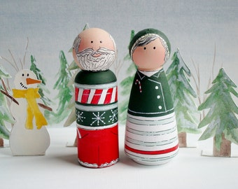 Santa Peg and Mrs. Claus Christmas Toy, Hand Painted Holiday Decor , Hostess Gift, Christmas Toy, Stocking Stuffer, In Stock, Ready to Ship