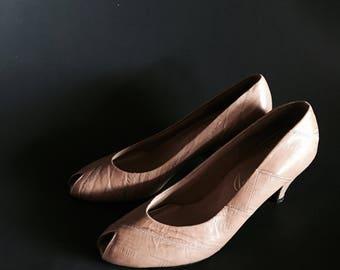 80's Eel Peep Toe Heels