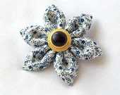 Blue Floral Hair Clip Unique Kanzashi Barrette