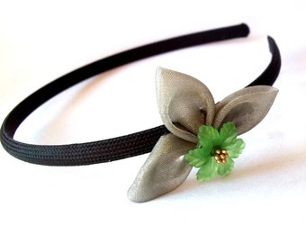 Unique Folded Fabric Headband with Green and Gold Flower Wearable Fiber Art