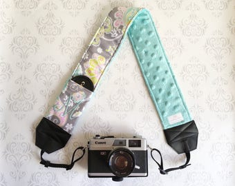 Personalized DSLR Camera Strap, Extra Long, Lens Cap Pockets, Nikon, Canon, DSLR Photography, Photographer - Pastel Paisley and Aqua