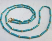 Estate Sleeping Beauty Turquoise and 18k Solid Yellow Gold Beaded Necklace, 18 Inches Long // Vintage Necklace //
