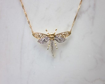 Vintage Diamond and 10k Solid White and Yellow Gold Dragonfly Necklace with 14k Solid Yellow Gold 18 Inch Chain