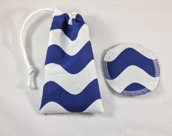 Menstrual Cup Bag Wavy Blue Chevron
