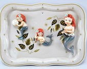 Vintage Ceramic Mermaids on Atomic Metal Tray Vintage DIY Art Piece 1950s Mid Century Modern
