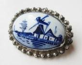 Vintage Delft Porcelain Windmill 835 Dutch Silver Filigree Brooch Pin