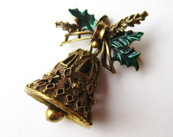 Vintage 50s Jeweled Rhinestone Gold Christmas Bell Novelty Pin Brooch