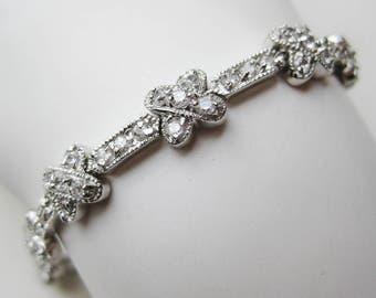 "Vintage Solid Sterling Silver CZ Faux Diamond 7 1/8"" Jeweled Tennis Bracelet"