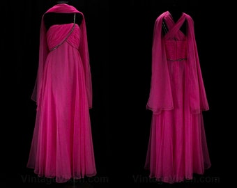 XS Formal Dress - Bright Pink Chiffon Bare Shoulder Evening Gown - Size 0 One Shoulder Dress - Rhinetone Strap - 1960s 70s - Bust 31 - 47381