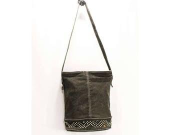 Stonewash Denim Purse - 1980s 90s Shoulder Bag - Gray Black Rock Star Denim with Studs & Faux Gems - Carpet Bags of America Label - 48945