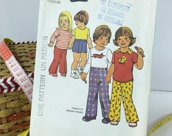 SIMPLICITY #7061 Sewing Pattern/Toddlers Vintage Pants Shorts T Shirt Top